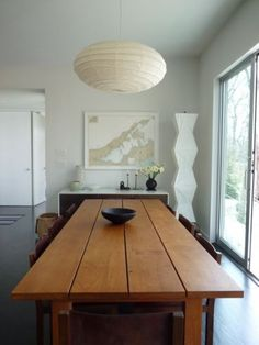 Architect Visit: Deborah Berke and Suzanne Shaker in Shelter Island - Remodelista Wooden Dining Tables, Dining Room Table, Dining Rooms, Wood Table, Dining Area, Plank Table, Wooden Chairs, Dining Decor, Kitchen Tables