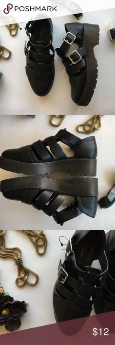 Forever 21 Blk Sandals Shoes are like new, BUT the right shoe doesn't have the metal piece that goes in the hole to keep shoe on. (see picture #5) shoe can still be worn, it's pretty tight just with being in the buckle. Easy fix. Heels is a little over and Inch Forever 21 Shoes Sandals