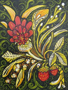 Thistle and Strawberry Composition