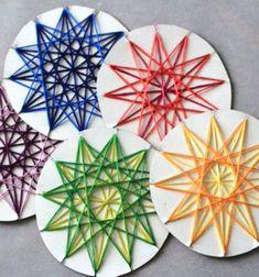 ❤ Fonal csillag karácsonyfadísz ( fonalkép ) - ötlet gyerekeknek ❤Mindy -  kreatív ötletek és dekorációk minden napra