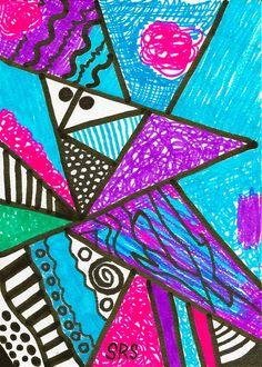 """Geometric Interior"" - - Original 5"" x 7"" heARTwork by Susan Schanerman. 2.25.17"