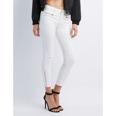 Charlotte Russe Ankle Zip Skinny Jeans ($33) ❤ liked on Polyvore featuring jeans, white, ankle zip skinny jeans, zipper skinny jeans, ankle zipper jeans, sexy jeans and white capri jeans