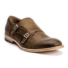 Elegantly weathered double-monk strap, cap toe shoe in washed, dusty brown cavallo leather, featuring double needle construction, antiqued silver buckles, full vitello leather lining, and a washed ver