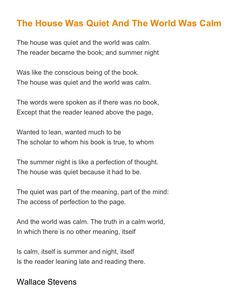Wallace Stevens poem about reading