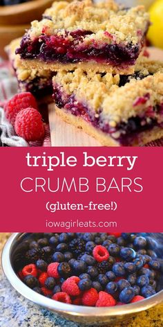 Triple Berry Crumb Bars is a sweet and simple gluten-free dessert recipe .- Triple Berry Crumb Bars is a sweet and simple gluten-free dessert recipe filled with fresh, juicy berries. This recipe with fridge and storage staples is ready in a few minutes. Dessert Sans Gluten, Easy Gluten Free Desserts, Bon Dessert, Dairy Free Recipes, Dessert Bars, Easy Desserts, Dessert Recipes, Appetizer Dessert, Gluten Free Snacks