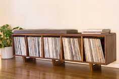 Vinyl LP Storage Bench with Mid Century by PeteDeebleFurniture