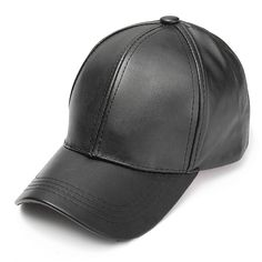 Unisex Men Women PU Leather Pure Color Baseball Cap Adjustable Snapback  Hip-hop Hat a1f5e9ab2453