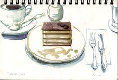 Urban Sketchers: coffee and cake by kumi matsukawa, via Flickr