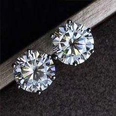 ccc8fa07d 6 Prong 3.50 Ct Near White Round Moissanite 925 Sterling Silver Stud  Earrings #jewel_moissanite #