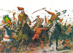 Louis S. Glanzman - Pedro de Mérida y Francisco de Valdéz en la batalla de Papudo.