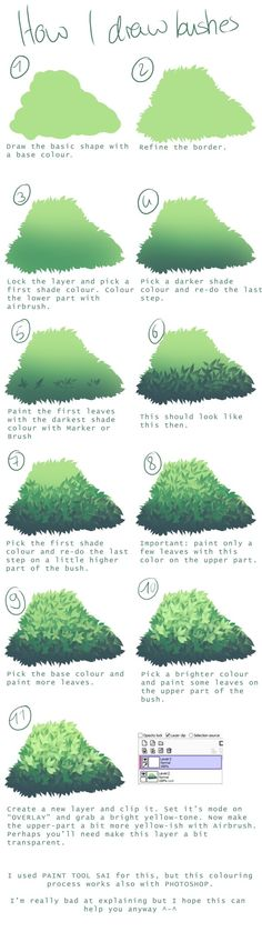 How I draw bushes Another requested tutorial. I normally use Sai for painting…
