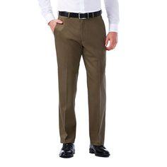 Men's Haggar Premium No-Iron Khaki Stretch Classic-Fit Flat-Front Pants, Size: 42X30, Med Brown