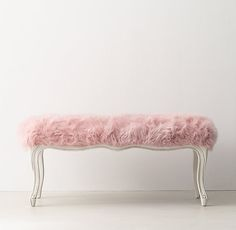 RH Teen Sophie Faux Fur Bench, Rose
