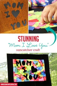 This Mother's Day suncatcher craft is perfect gift for Mother's Day. Simple DIY craft with a sensory aspect for toddlers and preschoolers to do at home. Preschool Gifts, Toddler Preschool, Toddler Crafts, Crafts For Kids, Mother's Day Activities, Spring Activities, Easy Diy Crafts, Baby Crafts, I Love You Mom