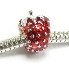 Amazon.com: Sterling Silver Red Enamel Strawberry Bead Charm For Pandora Chamilia Troll Biagi: Jewelry