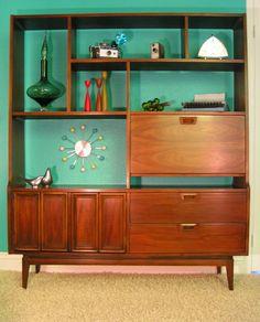 Mid Century Modern Walnut Display/Desk/Bar Wall Cabinet. sleekandsimplelines.com