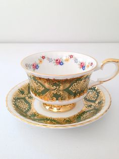 Vintage Paragon Gold Gilded Tea Cup and Saucer Tea Party Stamped By Appointment To Her Majesty The Queen of England c. 1957 - 1960's