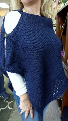 This is a quick poncho that we have knit several times in the shop from everything from fingering to chunky. Pick a yarn that will have a nice drape at one of the gauges listed. The pattern can be easily adjusted to your size be making the rectangle longer or shorter or by casting on more or less stitches.