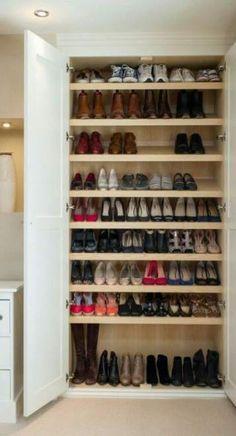 Closet Casal Sapateira 33 New Ideas - Schlafzimmer Closet Shoe Storage, Shoe Storage Cabinet, Bedroom Storage, Shoe Closet Organization, Wardrobe Closet, Walk In Closet, Shoe Cupboard, Cabinet Closet, Closet Remodel