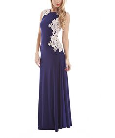 Look at this AX Paris Navy Blue Lace Appliqué Maxi Dress on #zulily today!