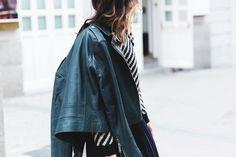 Pleated_Skirt-Striped_Sweater-APC_Paris-Green_Biker_Jacket-Reiss_Fashion-Outfit-Street_Style-46