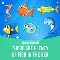 """""""There are plenty of fish in the sea"""" means """"there are lots of possible girlfriends or boyfriends in the world"""". Example: Mary was not a good wife. Don't cry about her. There are plenty of fish in the sea. #idiom #idioms #slang #saying #sayings #phrase #phrases #expression #expressions #english #englishlanguage #learnenglish #studyenglish #language #vocabulary #dictionary #grammar #efl #esl #tesl #tefl #toefl #ielts #toeic"""