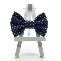 Navy Swiss Dot Hair Bow