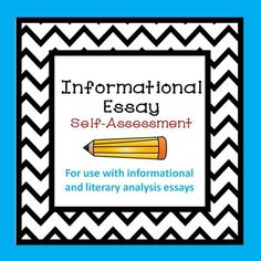 Informational Literary Analysis Self-Assessment Informative Essay, Self Assessment, Students, Organization, Writing, School, Getting Organized, Organisation, Self Esteem