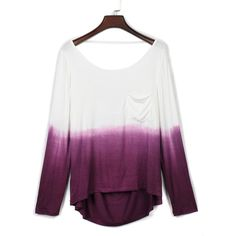 Choies Purple Dip Dye Pocket Detail Backless Long Sleeve T-shirt ($14) ❤ liked on Polyvore featuring tops, t-shirts, shirts, long sleeves, sweaters, blusas, purple, t shirt, long sleeve pocket t shirts and long sleeve shirts
