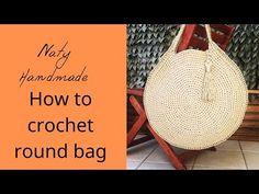 Round bag with handles Crochet Circles, Crochet Round, Knit Crochet, Crochet Bags, Crochet Cardigan Pattern, Round Bag, Diy Videos, Handmade Bags, Ideas