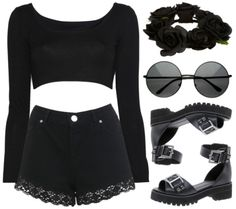 Goth short shirt and lace trimmed shorts. Pastel Goth Outfits, Gothic Outfits, Edgy Outfits, Cool Outfits, Fashion Outfits, Grunge Fashion, Rock Fashion, 90s Grunge, Emo Fashion