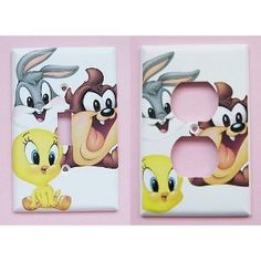 baby looney tunes for the nursery lamp | 2pc New RARE Handcrafted Baby Looney Tunes Nursery Light Switchplate w ...
