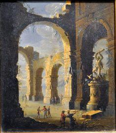 GENNARO GRECO  (IL MASCACOTTA Napoli 1663-1714 ).Rovine con figure