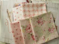 [PURI#68]Paisley Rose Garden,Pink, Quilts,bio nano,100% cotton,5 FQ,Eco Series