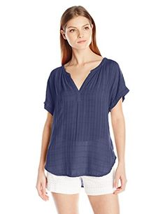 VELVET BY GRAHAM & SPENCER Women's Windowpane Short Sleeve Blouse, Aegean, X-Large- #fashion #Apparel find more at lowpricebooks.co - #fashion