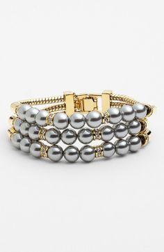 Givenchy Cooper 3row Faux Pearl Bracelet in Gray (grey pearl/ clear/ gold) - Lyst