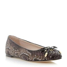 DUNE LADIES HEANDA - Square Toe Bow Trim Ballerina - black   Dune Shoes Online
