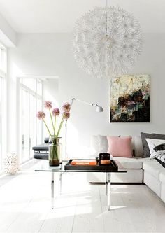 The Designer Pad - WHITE ON WHITE  great art and ikea fixture