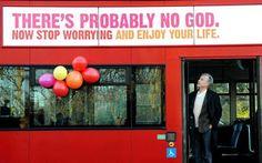 Professor Richard Dawkins on a bus displaying an atheist message in Kensington Gardens in 2009 (Photo: PA)