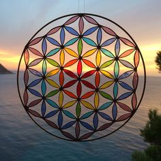 Stained glass Suncatcher Flower of life mandala Yoga by Mownart