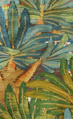 """Reda observes and celebrates the delicate flowers and hardy desert greens in the garden at the Ramses Wissa Wassef Art Centre. Garden Plants, Reda Ahmed, Wool Tapestry, 2012, 0.86m x 1.65 meters (34"""""""