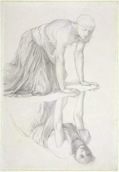 Studies for the 'Mirror of Venus' Study for the reflection. Edward Burne-Jones (1833-1898)
