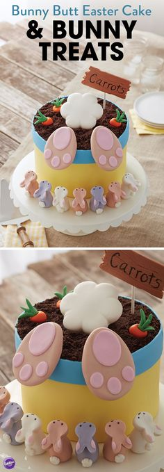Make this cute Bunny Butt Easter Cake with Bunny Treats that your guests will enjoy! The mini bunnies were made of rice cereal treats and molded using the Wilton Easter Bunny Silicone Treat Mold.