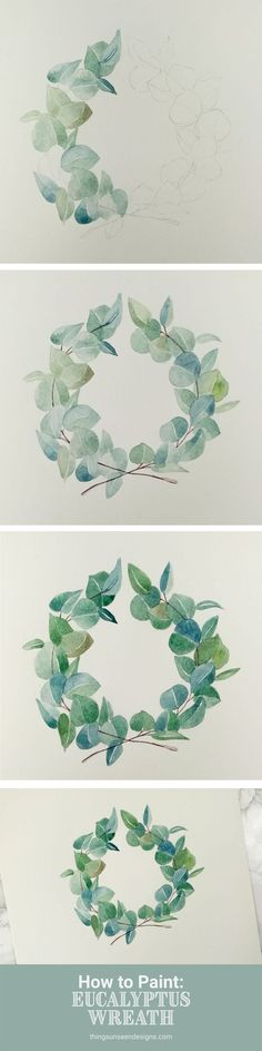 If there's one thing that will never go out of style, it's a greenery wreath. They're simple, minimalist, and can complement almost any color palette. Just see how they're being used in weddings, events, home decor, and artwork. Plus, this was the inspiration for this month's free download! In this post, you'll learn how to paint your own eucalyptus greenery wreath with watercolors by sketching it out first and painting in layers.