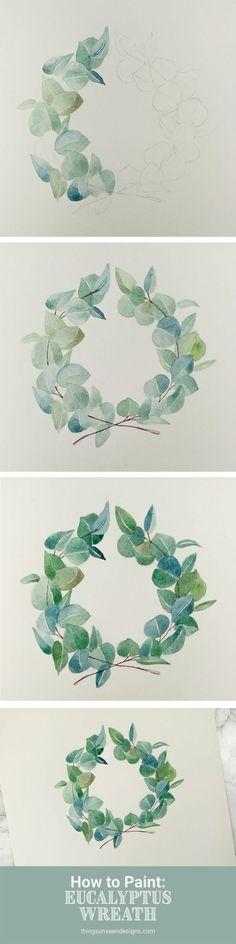 If there's one thing that will never go out of style, it's a greenery wreath… Wenn es eine Sache gibt, die niemals aus der Mode kommt, ist es ein grüner Kranz … – Watercolor Tips, Watercolour Tutorials, Watercolor Cards, Watercolor Paintings, Watercolors, Simple Watercolor, Painting & Drawing, Wreath Drawing, Painting Tattoo