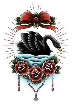 Black Swan Tattoo Flash   KYSA #ink #design #tattoo