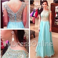 New Arrival A-line Aqua Chiffon Skirt Gold Beaded Bodice Prom Dresses Cap Sleeve Formal Dresses