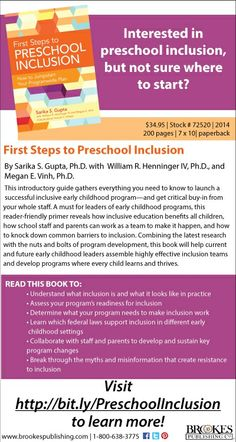 This introductory guide gathers everything you need to know to launch an inclusive early childhood program—and collaborate with staff and parents to make it a success. A must for leaders of early childhood programs.