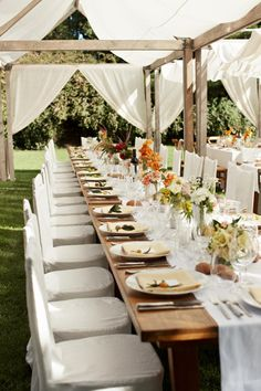 Outdoor dining with canopy & curtains