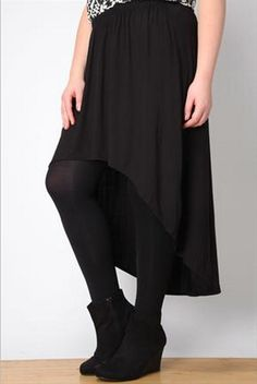 Black Plain Exaggerated Dipped Hem Skirt $17.00